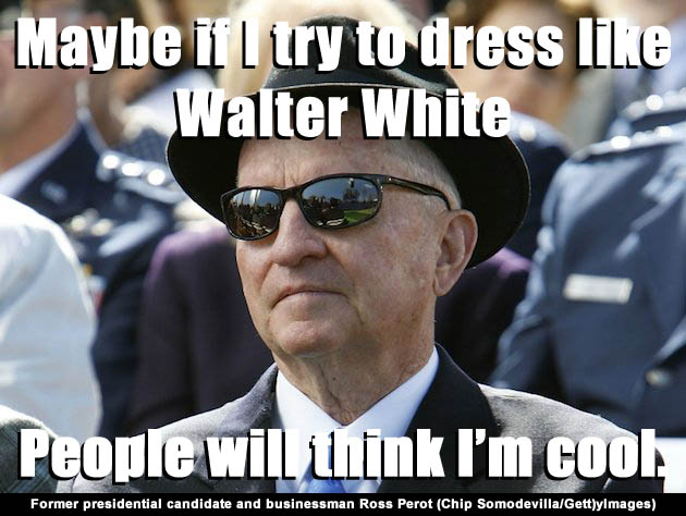 Ross Perot dresses up as Walter White